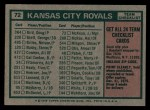 1975 Topps #72  Royals Team Checklist  -  Jack McKeon Back Thumbnail