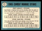 1965 Topps #477   Cardinals Rookie Stars  -  Steve Carlton / Fritz Ackley Back Thumbnail