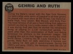 1962 Topps #140 A  -  Babe Ruth / Lou Gehrig Gehrig and Ruth Back Thumbnail