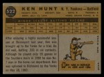1960 Topps #522  Ken Hunt  Back Thumbnail