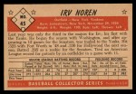 1953 Bowman Black and White #45   Irv Noren Back Thumbnail