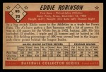 1953 Bowman Black and White #20  Eddie Robinson  Back Thumbnail