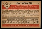 1953 Bowman Black and White #14   Bill Nicholson Back Thumbnail