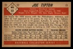 1953 Bowman Black and White #13  Joe Tipton  Back Thumbnail