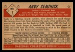 1953 Bowman Black and White #7  Andy Seminick  Back Thumbnail