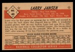 1953 Bowman Black and White #40   Larry Jansen Back Thumbnail