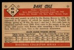 1953 Bowman Black and White #38   Dave Cole Back Thumbnail