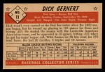 1953 Bowman Black and White #11   Dick Gernert Back Thumbnail