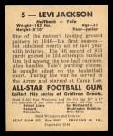 1948 Leaf #5 BLU Levi Jackson  Back Thumbnail