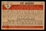 1953 Bowman Black and White #29   Sid Hudson Back Thumbnail