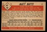 1953 Bowman Black and White #22  Matt Batts  Back Thumbnail