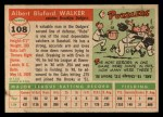 1955 Topps #108   Rube Walker Back Thumbnail