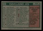 1975 Topps #561  Athletics Team Checklist  -  Al Dark Back Thumbnail