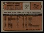 1972 Topps #637  Preston Gomez  Back Thumbnail