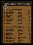1973 Topps #63  1972 RBI Leaders  -  Johnny Bench / Dick Allen Back Thumbnail