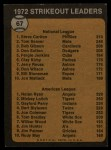 1973 Topps #67  1972 Strikeout Leaders  -  Steve Carlton / Nolan Ryan Back Thumbnail