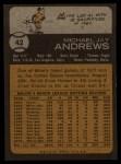 1973 Topps #42   Mike Andrews Back Thumbnail