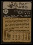 1973 Topps #213   Steve Garvey Back Thumbnail