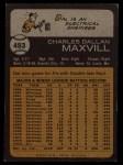 1973 Topps #483  Dal Maxvill  Back Thumbnail