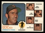 1973 Topps #49 BRN Twins Field Leaders  -  Frank Quilici / Vern Morgan / Bob Rodgers / Ralph Rowe / Al Worthington Front Thumbnail