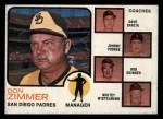 1973 Topps #12 ORG Padres Leaders  -  Don Zimmer / Dave Garcia / Johnny Podres / Bob Skinner / Whitey Wietelmann Front Thumbnail