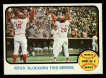 1973 Topps #208  1972 World Series - Game #6 - Reds' Slugging Ties Series  -  Johnny Bench / Denis Menke / Bobby Tolan Front Thumbnail