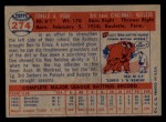 1957 Topps #274   Don Hoak Back Thumbnail