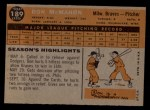1960 Topps #189   Don McMahon Back Thumbnail