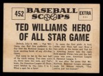 1961 Nu-Card Scoops #452   -   Ted Williams All-Star Hero Back Thumbnail