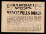 1961 Nu-Card Scoops #417    Fred Merkle  Back Thumbnail