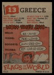 1956 Topps Flags of the World #13   Greece Back Thumbnail