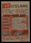 1956 Topps Flags of the World #17   Iceland Back Thumbnail