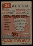 1956 Topps Flags of the World #24  Austria  Back Thumbnail