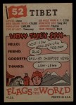 1956 Topps Flags of the World #52  Tibet  Back Thumbnail