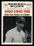 1961 Nu-Card Scoops #467  Four Homers  -   Joe DiMaggio Front Thumbnail