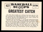 1961 Nu-Card Scoops #427  Greatest catch  -   Willie Mays Back Thumbnail