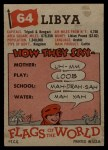 1956 Topps Flags of the World #64   Libya Back Thumbnail