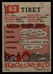 1956 Topps Flags of the World #52   Tibet Back Thumbnail