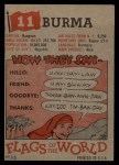 1956 Topps Flags of the World #11   Burma Back Thumbnail