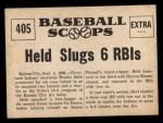 1961 Nu-Card Scoops #405    Woodie Held  Back Thumbnail