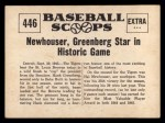 1961 Nu-Card Scoops #446   Hal Newhouser   Back Thumbnail