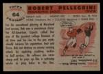 1956 Topps #64   Bob Pellegrini Back Thumbnail