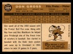 1960 Topps #284   Don Gross Back Thumbnail