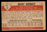 1953 Bowman Black and White #32   Rocky Bridges Back Thumbnail