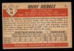 1953 Bowman Black and White #32  Rocky Bridges  Back Thumbnail