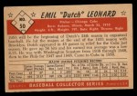 1953 Bowman Black and White #50  Emil  Dutch  Leonard  Back Thumbnail