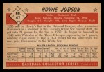 1953 Bowman Black and White #42   Howie Judson Back Thumbnail