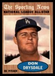 1962 Topps #398  All-Star  -  Don Drysdale Front Thumbnail