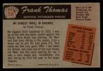 1955 Bowman #58  Frank Thomas  Back Thumbnail