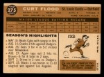 1960 Topps #275  Curt Flood  Back Thumbnail